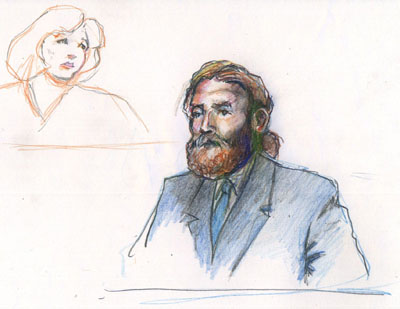 Plaintiff Mike McCurdy in the witness box; Judge Susan Illston in background. Courtroom graphics by K. Rudin.